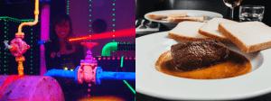 Combinatie lasergamen met 3-gangen-menu.
